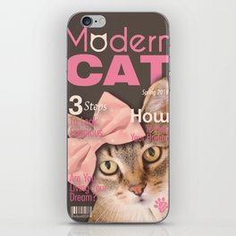 Brown Tabby Cat with Soft Pink Bow iPhone Skin