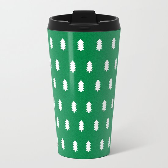 Christmas Trees minimal modern green and white holiday christmas decor Metal Travel Mug