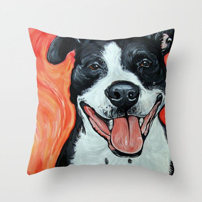 Black & White Adorable Pit Bull  Throw Pillow