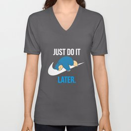 Reality Game Snorlax Just Do It Later Game T-Shirts Unisex V-Neck