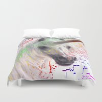 unicorn Duvet Covers featuring unicorn by Vector Art