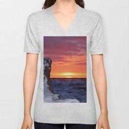 Golden Sunset on Sea and  Snow Unisex V-Neck