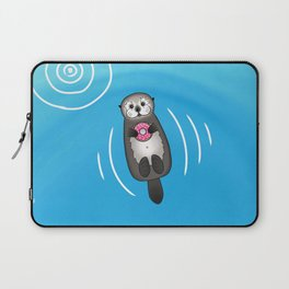 Sea Otter with Donut - Cute Otter Holding Doughnut Laptop Sleeve
