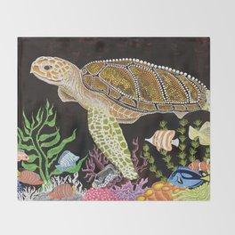 Sea Turtle, Reef Fish Throw Blanket