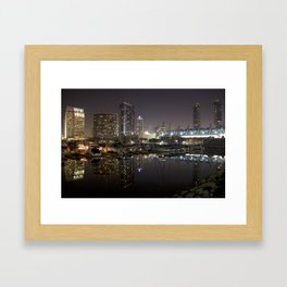 San Diego Embarcadero at night Framed Art Print