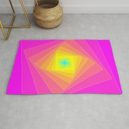 Magenta, Yellow, and Cyan Squares Rug