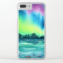 """Northern Lights"" watercolor landscape painting Clear iPhone Case"