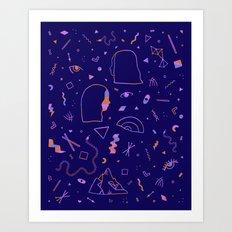 Dreamy Heads [Blue] Art Print