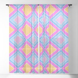 70's 80's squares plaid pattern light pink blue checkered Sheer Curtain