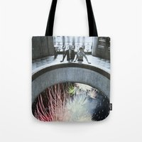 fireworks Tote Bags featuring Fireworks by John Turck