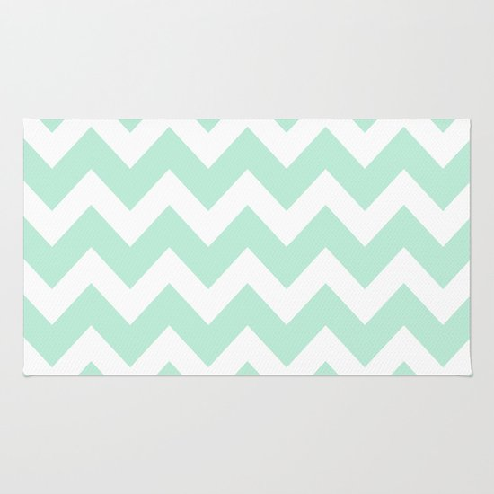 Chevron Mint Green Amp White Rug By Beautiful Homes Society6