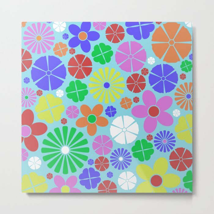 Colourful Colorful Flowers Pattern Metal Print