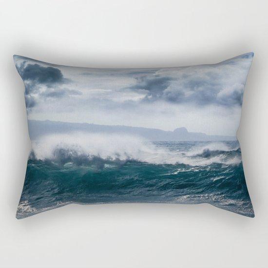 He inoa wehi no Hookipa  Pacific Ocean Stormy Sea Rectangular Pillow