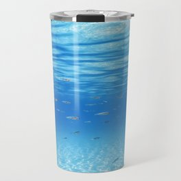 School of Fish Swimming over Sand Bottom in the Tropical Sea Travel Mug