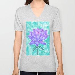 Sacred Lotus – Lavender Blossom on Mint Palette Unisex V-Neck