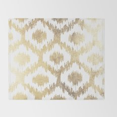 Modern white hand drawn ikat pattern faux gold  Throw Blanket