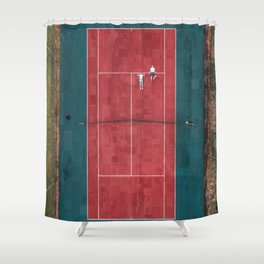 Tennis court, view of drone Shower Curtain