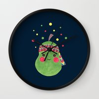 hippie Wall Clocks featuring Hippie Pear by haidishabrina