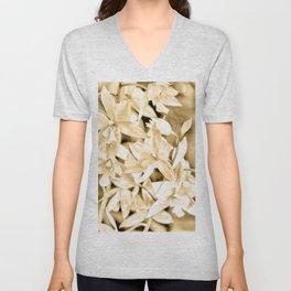 Cascading orchids - Tan Unisex V-Neck