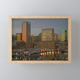 Inner Harbor Baltimore Skyline at Dusk, Federal Hill, Waterfront  Framed Mini Art Print