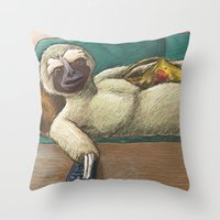 sloth Throw Pillows featuring Sloth by Ken Coleman