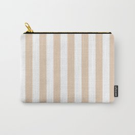 Narrow Vertical Stripes - White and Pastel Brown Carry-All Pouch