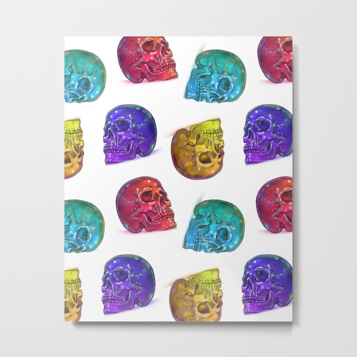 Rainbow Crystal Skulls Pattern Metal Print