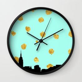 NYC Mint and Gold Wall Clock
