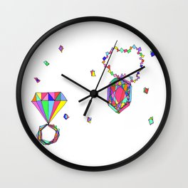Shine Colorfully diamonds jewelry illustration fashion gem colorful accessory princess girly Wall Clock