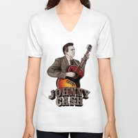 johnny cash V-neck T-shirts featuring Johnny Cash by Daniel Cash