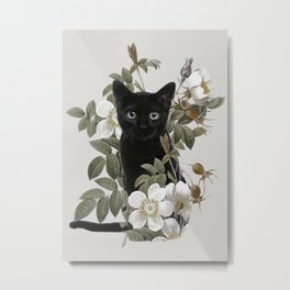 Cat With Flowers Metal Print