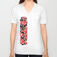 maori V-neck T-shirts featuring Maori Kowhaiwhai Patchwork Pattern by mailboxdisco