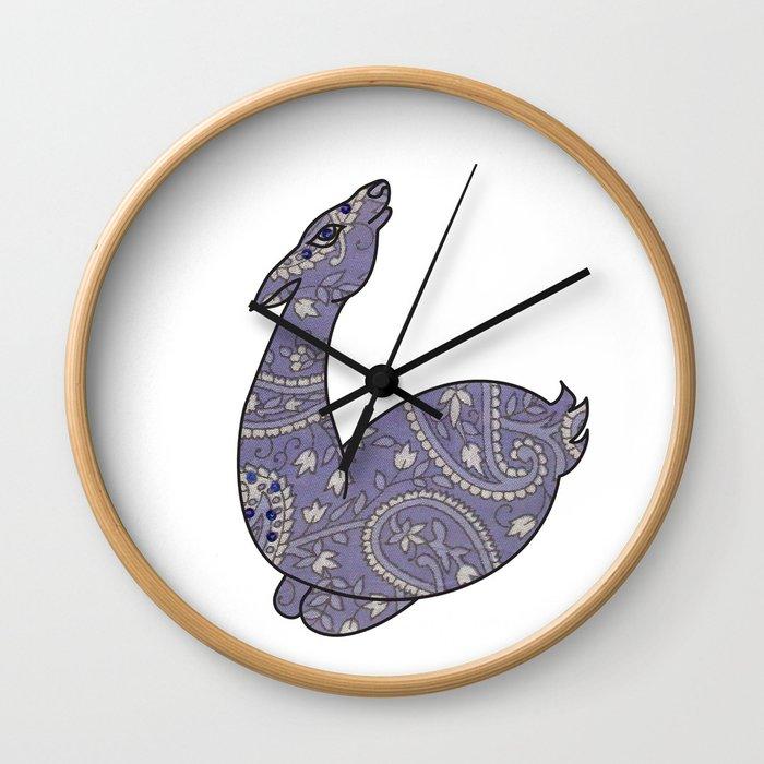 The Lavender Paisley Deer Wall Clock