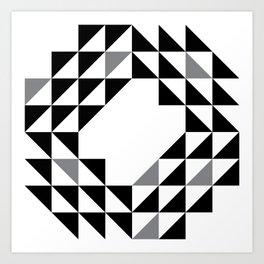 Geometic Ocan Waves White and Black Art Print