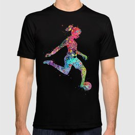 Girl Soccer Player Watercolor Sports Art T-shirt