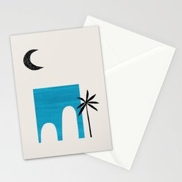 Teal Blue Ancient Ruin Minimalist Mid Century Modern Architecture Moon Lit Palm Tree by Ejaaz Haniff Stationery Cards