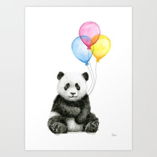 Panda Baby with Balloons Whimsical Nursery Animals Art Print