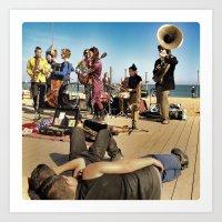 Street Musicians in Barceloneta Art Print