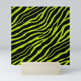 Ripped SpaceTime Stripes - Lime Yellow Mini Art Print