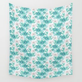 Trendy Red Anemone Geometric Blue Ocean Aqua Wall Tapestry