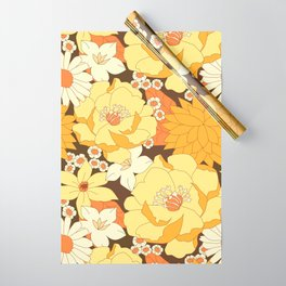 Yellow, Orange and Brown Vintage Floral Pattern Wrapping Paper