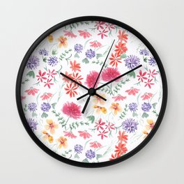 Bright flowers on a white background. Wall Clock