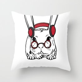 Rabbit Clipart Rabbit Line Art Bunny Wearing Red Headphone and Glasses Throw Pillow