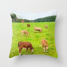 Cows pasture watercolor painting  Throw Pillow