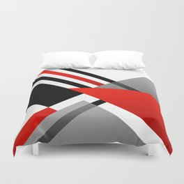 Sophisticated Ambiance - Silver & Passion Red Duvet Cover