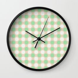 Pastel Green & Off White Uniform Large Polka Dots Pattern on Beige - Neo Mint 2020 Color of the Year Wall Clock