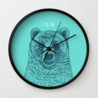 i like you Wall Clocks featuring I Like You (Bear) by Rachel Caldwell