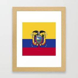 Ecuador flag emblem Framed Art Print