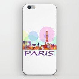 Paris City Skyline HQ, Watercolor iPhone Skin
