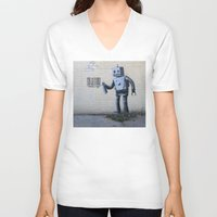 banksy V-neck T-shirts featuring Banksy Robot (Coney Island, NYC) by Limitless Design